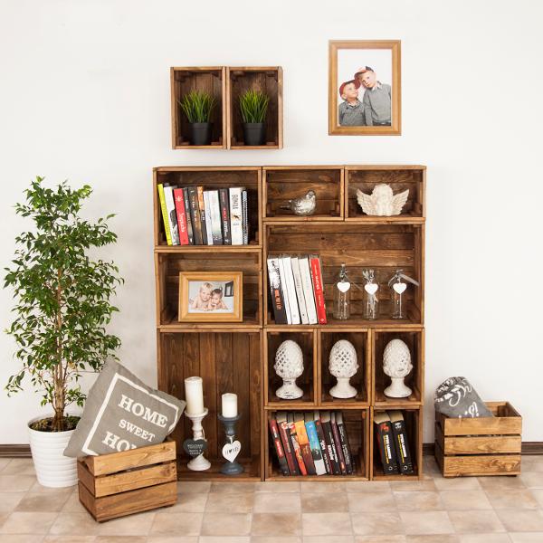 Medinės dėžės – lentynos (rudos)
