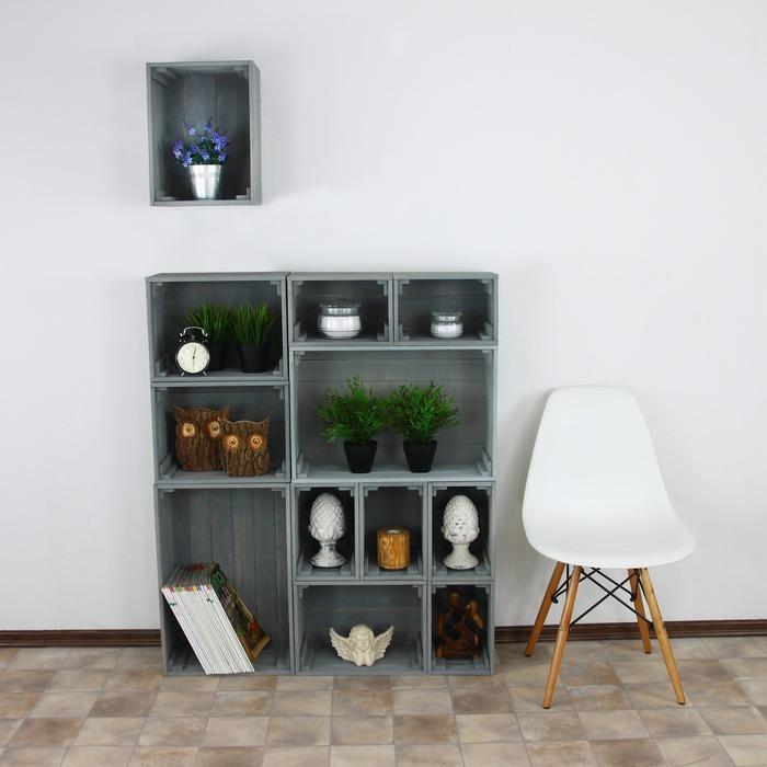 Medinės dėžės – lentynos (pilkos)